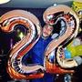 Balão Metalizado Número Grande Prata Aniversário Decoração