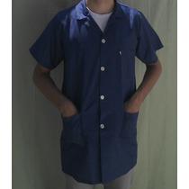 Jaleco Longo Manga Curta - Azul Ou Branco - 3 Bolsos Avental