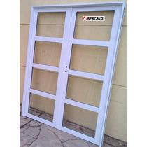 Puerta Balcon Abrir Aluminio Reforzado 3 Travesaños 150x200