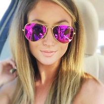 Oculos D Sol Modelo Aviador Feminino Thc Roxo Pink Espelhado