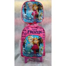 Kit Mochila Carrinho Pequena + Lancheira Frozen