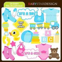 Kit Imprimible Baby Shower 2 Imagenes Clipart