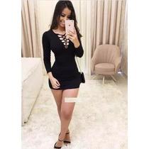 Vestido Feminino Colado Curto Trançado Lindo Panicat #vc19