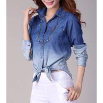 Camisa Jeans Blusa Feminina Degradê Pronta Entrega 2 Cores