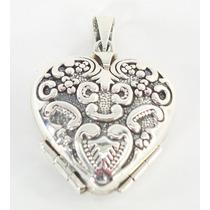Corazón Antiguo Dije De Plata Relicario Guardapelo Ley.925