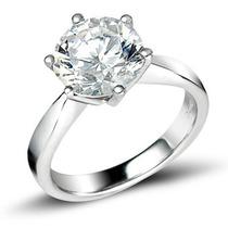 Anillo Con Diamante De 2.50 Ct Corte Redondo Y Oro 14k