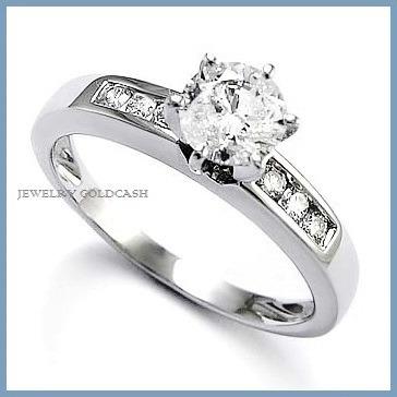 Goldcash elegante anillo de compromiso oro blanco de 18k for Precio rodiar anillo oro blanco