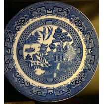 Antiguo Plato Ironstone Loza Inglesa Chinoserie Tinta Azul