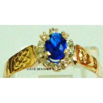 Anel De Grau/formatura Feminino Ouro18k Safira Azul Natural