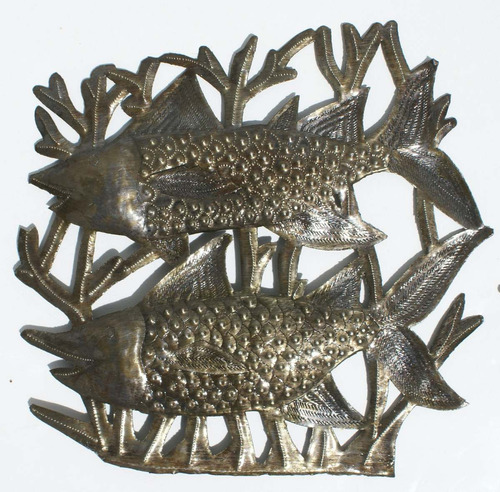 Los Peces Decoracion De Pared De Metal Desde Haiti 35cm