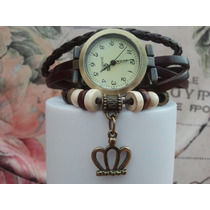 Relógio De Pulso Vintage Feminino Em Couro Brinde Exclusivo