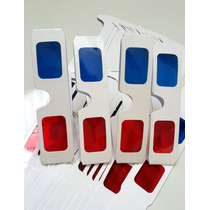 4 (quatro) Óculos 3d Red/blue De Papel Cartão Plastificado.
