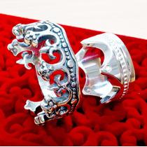 Par De Alianças Prata 950 Coroas Rei Rainha Namoro Aj051