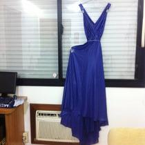 Vestido Festa Azul Poliéster - Maria Valentina Sexy Decote