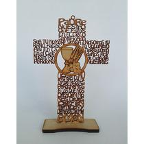 15 Cruz Padre Nuestro 20 Cms. Comunios Mdf Laser Oración