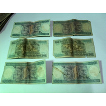 Lote 6 Antigas Cédulas Notas - 200 Cruzeiros Princesa Isabel
