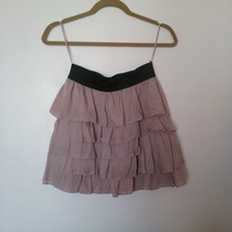 Limpia De Closet - Falda Zara De Olanes Dusty Rose
