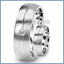 Argollas De Matrimonio Mod. Cambridge Oro Blanco 14k Solido