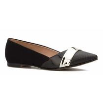 Zapatos De Piso Flats Andrea Negros Grabado Cocodrilo