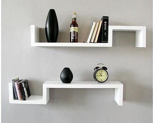 repisa minimalista flotante moderna barata forma de s