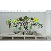 Arbol Con Mandalas, Vinilo Decorativo 240 Cm. Tonos Verdes
