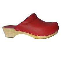 Zapatos Suecos De Piel Y Suela De Madera