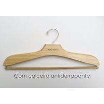 Cabide De Madeira Adulto Com Haste Para Calça Na Cor Marfim