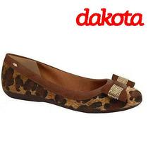 30% Off Sapatilha Dakota Couro Animal Print B7331 - Onça