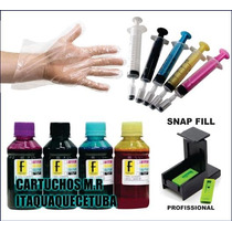 Kit Tinta Recarga Cartucho Hp + 2 Snap Fill + Seringa + Luva