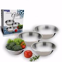 Saladeira Fratelli Inox Kit 4 Potes Vasilhas