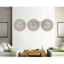Trio Mandalas Mdf 3 Mm Cru Escultura De Parede - 50 X 50 Cm