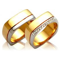 Par De Alianças De Ouro 18k Com Diamante J R.