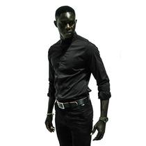 Camisa De Noche Basica Negra Entallada Corte Italiano - Rx