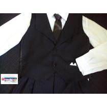 Conjunto Masculino Infantil Social Calça Camisa Colete Risca