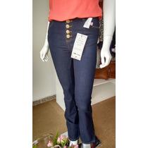 Calças Flare Hot Pants Disco Pant Cintura Alta Jeans Jezzian