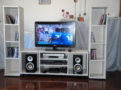 Mueble con libreros centro de tv para pantalla lcd for Como hacer muebles para sala