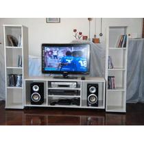 Mueble Con Libreros, Centro De Tv, Para Pantalla Lcd, Plana,