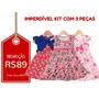 Kit C/ 3 Vestidos Infantis Tam 2 - Frete Único - R$10