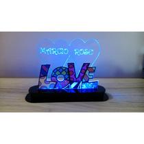 Luminária Abajur Led Amor Love Romero Brito Dia Do Namorados