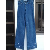 Calça Jeans C/ Elastano/ Bordados Da Hamuche Tam 40