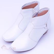 Bota Feminina Couro Ankle Boot Branca Neftali Conforto