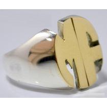 Anillo Sello Plata 925 Oro 18k Calado 2 Letras Garantia Escr