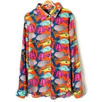 Camisa Chiffon Estampa Peixe Seda Musseline Maravilhosa