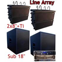 Kit Caixas Line Array Sub Amplificadores Crossover