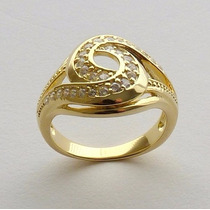 Anel Prata 925 Aro 22 Banho Ouro Amarelo 30 Zircônia 7525-22