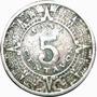 Moneda 5 Centavos 1937 Calendario Azteca