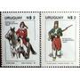 Osl Sellos Uruguay 1080 Al 1081 Uniforme Ejército Caballo
