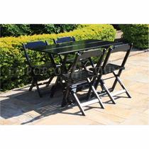 Jogo De Mesa Dobrável 120x70 C/4 Cadeiras, Bar,churrasqueira