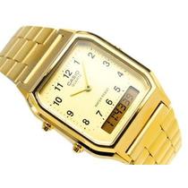 Reloj Casio Retro Aq 230 Ga - 9b Mq Dorado 100% Original