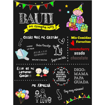 Cartel Pizarra Para Eventos, Cumpleaños, Candy Bar. Retrato